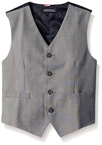 Tommy Hilfiger Big Boys' Sharkskin Suit Vest, Light Grey, 18