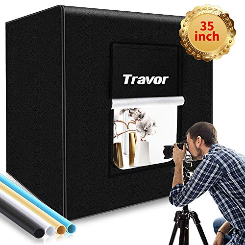 "Photo Box, Travor Photo Studio Light Box 35""/90cm Adjustable Brightness Portable Shooting Tent Table Top Photography Lighting Kit with 126 LED Lights 4 Backdrops (Brightness 15000lm, CRI95+)"