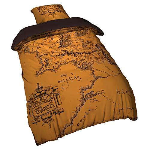 Elbenwald Herr der Ringe Wendebettwäsche Set Mittelerde-Karte 2tlg 135x200 80x80cm beige braun
