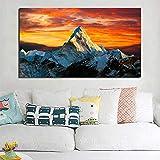 Leinwand Poster Drucke Himalaya-Berge Gold Himmel Natur