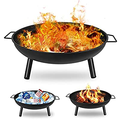 Qweidown Outdoor Fire Pit Firebowl Metal Large 23inch / 58 x 23cm, Heavy Duty Iron Heaters Barbecue Brazier, Charcoal Wood & Coal Burners Round Burning Bowl for Garden Patio Camping Picnic BBQ from Qweidown