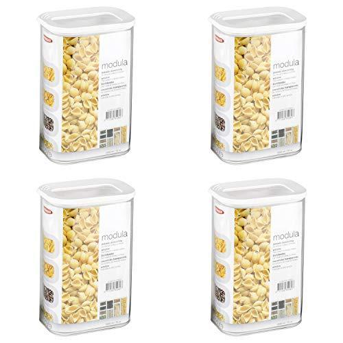 Mepal 106911030600 Modula - Barattolo in plastica, 2000 ml, colore: Trasparente/Bianco (4 pezzi)
