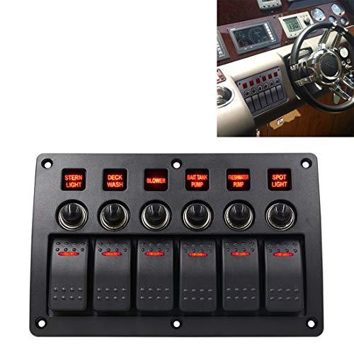 CUILILISWSB Autoschalter Cllozd 3 Pin 6-Wege-Schalter Kombischalter Panel mit Licht und Projektor-Objektiv for Auto-RV-Marineboot