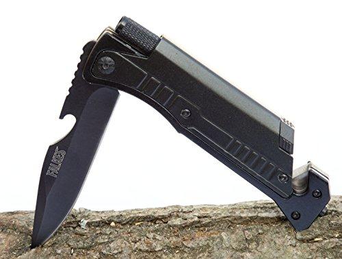 falkes Survivalmesser, Klappmesser Adventure - 6 in 1 - Waffengesetzfreies Outdoormesser für Camping, Beruf und Hobby - extra Messerschärfer und Hülle