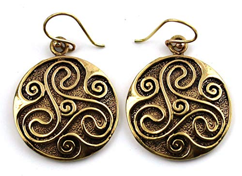 Bronze Engraved Celtic Knot triskelion Drop Dangle Earrings Fish Hook Vintage Thailand Jewelry
