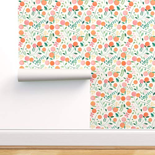 Spoonflower Pre-Pasted Removable Wallpaper, Fruit Pattern Fruit Peaches Pastel Orange Botanical Floral Print, Water-Activated Wallpaper, 24in x 108in Roll