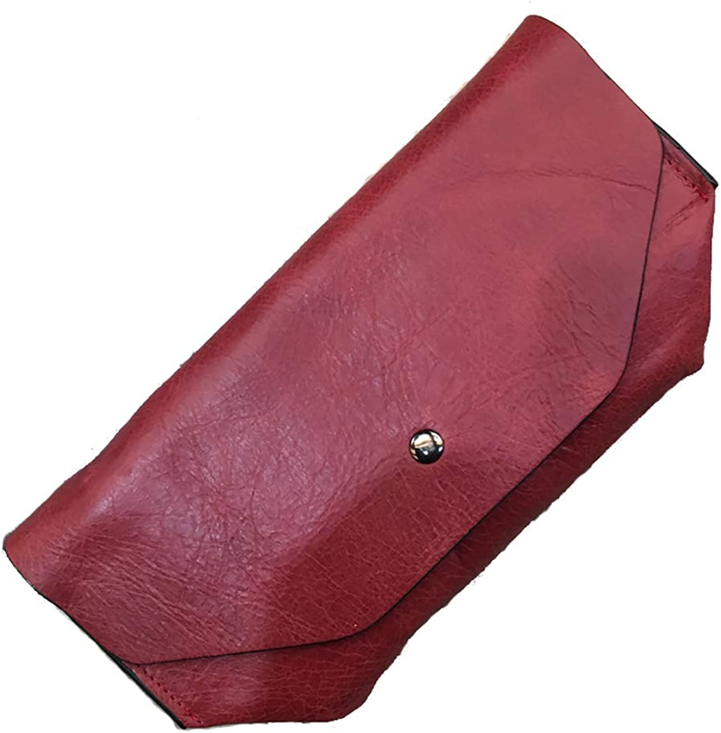 Wallet Female The First Layer Of Leather Solid color Simple Retro Leather Largecapacity Wallet Card Purse (color   RED, Size   22  11  1cm)