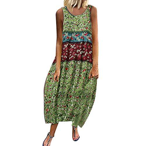 Auifor✿ Dames wijnoogst-boheemse print bloemenmouwen O-aanzet -maxi-jurk