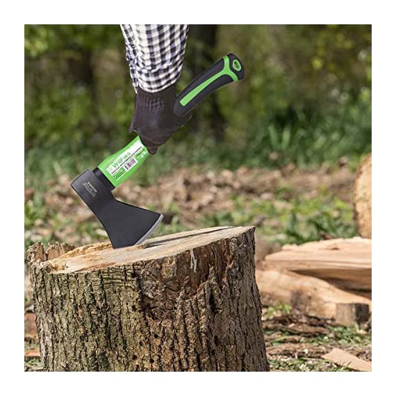 """WilFiks Chopping Axe, 15"""" Camping Outdoor Hatchet for Wood Splitting and Kindling, Forged Carbon Steel Heat Treated Hand… 6 ► EASY TO USE: Our Wood Chopping Axe is designed for easy chopping Of Firewood, Logs, Kindling and Branches. The Optimized blade geometry is designed for maximum efficiency to give you more one-strike splits. Ideal for campers, hikers, outdoor activities, preparing wood for bonfires and garden work. ► DURABLE CONSTRUCTION: The Forged Carbon Steel Heat Treated blade which improves its density and makes the axe more durable produces smooth, sharp, and quick splits and stays sharp longer than traditional axes. You can count on this Hand Axe to deliver superior, long lasting performance. ► ERGONOMIC DESIGN: Our Hatched is Designed with a Shock Absorbing Anti Slip Grip, Cold Resistant Ergonomic Shaped Fiberglass Handle which will reduce the strain on your hand, resists slipping and adds comfort."""
