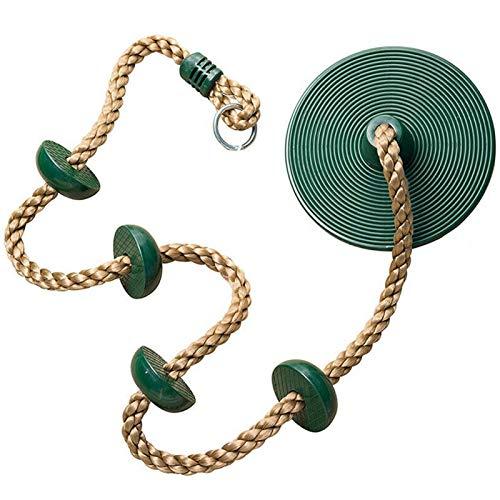 Tongdejing Corda per arrampicata e altalena per bambini, con supporto per piede, piattaforma di supporto per esterni, cortile, campo gioco per bambini, corda da arrampicata