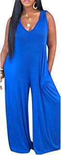 QIYUN.Z Women's Solid Color V-Neck Hanging Bandwidth Loose Jumpsuit Wide-Leg Pants