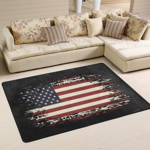 Yibaihe Leichter bedruckter Teppich Bodenmatte Hintergrund mit USA-Flagge für Wohnzimmer, Schlafzimmer, 90 x 60 cm, Polyester, multi, 91 x 61 cm(3' x 2')