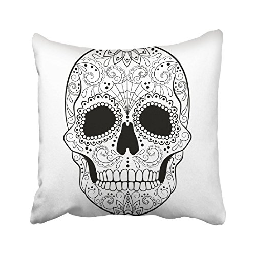 Emvency Mexican Sugar Skull with Detailed Floral Black and White Tattoo Sketch Day Dead Drawing Halloween Bone Throw Pillow Cover Covers 16x16 Inch Decorative Pillowcase Cases Case Two Side