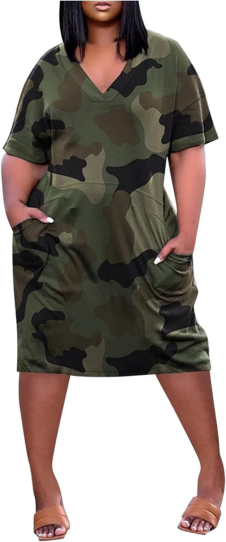 Women Plus Size Popular V-Neck Gradient Tie-dye T Shirt discount Ca Dresses Print
