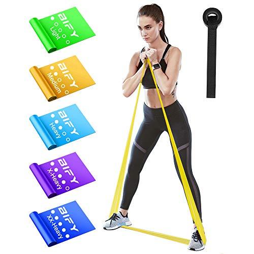 BIFY Fitnessbänder 5er-Set 1.8M Verschiedene Widerstände,geeignet für Fitness, Aerobic, Muskelübungen,Yoga, widerstandsbänder,krafttraining Fitnessband