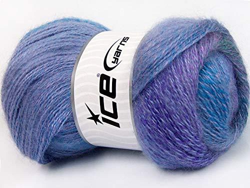 Purple, Blue, Teal Green Mohair Pastel Yarn - Premium Acrylic, Wool, Mohair Sport Weight Yarn 100 Gram 546 Yards