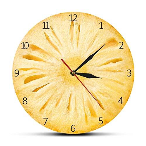 Frutta Tropicale Ananas Taglio Bromelia Orologio da Parete Stampato in Acrilico Dolce Carne Gialla di Ananas Decorazione della Cucina di Arte della Parete