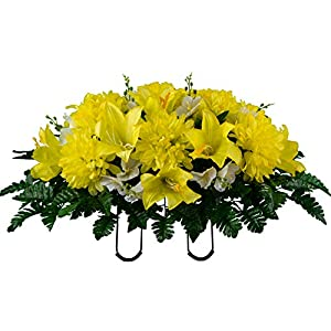 sympathy silks artificial cemetery flowers – realistic – outdoor grave decorations – non-bleed colors, and easy fit – yellow dahlia mix saddle for headstone silk flower arrangements