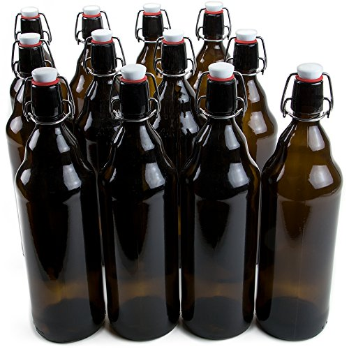 33 oz. Grolsch Glass Beer Bottles, Quart Size – Airtight Swing Top Seal Storage for Home Brewing of Alcohol, Kombucha Tea, Homemade Soda by Cocktailor (12-pack)