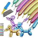 Kit de globos largos metálicos de 260 con bomba, globos de látex de cromo brillante retorcidos para animales con globos, globos mágicos para cumpleaños, bodas, aniversarios, decoraciones para fiestas