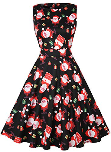 OWIN Women's Vintage Christmas Dresses Santa Claus Cocktail Dress Rockabilly Swing Party