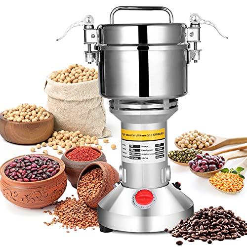 AILIXI 700g Grain Mill Grinder, 2500W High Speed Electric Stainless Steel Grinder Safety Upgraded Cereals Corn Flour Pulverizer Super Fine Powder Machine for Wheat,Seeds,Herbs,Pepper,Rice,Corn