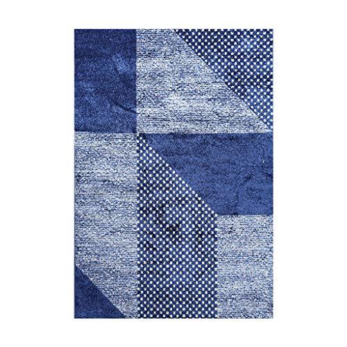 Tapis JXLBB de lit géométrique Bleu Salon Sleek Minimalist Classique 0.8x1.5m Polyester Velvet Épais 10mm Épais Balcon Fenêtre Fenêtre Velvet Polyester