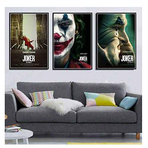 Joker Poster Joaquin Phoenix Movie DC Comics Poster Prints Canvas Art Painting Wall Pictures For Living Room Home Decor-50x70cmx3 Sin marco