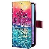 Uposao Kompatibel mit Handyhülle Samsung Galaxy J6 Plus Handytasche 3D Glitzer Glänzend Handytasche Bookstyle Klappbar Flip Hülle Cover Lederhülle Ledertasche Schutzhülle Klapphülle,Sonne