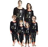 Pijama de la Familia de Halloween Set, niños Disfraz Paternidad Top y Pantalones Esqueleto Impresión de Letras T Shirt Vestidos Niñas - Unisex Nere 130 cm