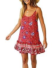 Cloudsemi dam boho strandklänning ärmlöst tryck minikläder sommarklänning tunikakleid strandkläder