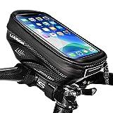 LUROON Bolsa Bicicleta Manillar, Bolso de Bici Impermeable con Ventana para Pantalla Táctil para Telefono Móvil, Bolsa para Cuadro Bicicleta para Teléfono Movil Dentro de 6,5 Pulgadas (Negro)