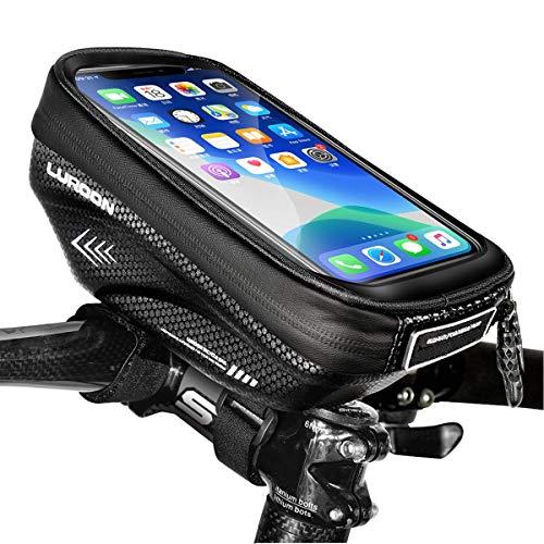 LUROON Sacoches de Cadre Vélo Etanche, Sacoche Vélo Guidon avec Housse de Pluie Imperméable et Ecran Tactile Transparent Sacoche Vélo Téléphone pour Smartphone sous 6,5 Pouces (Noir)