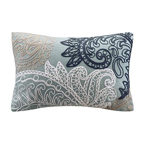Kiran with Chain Stitch Lumbar Pillow Blue