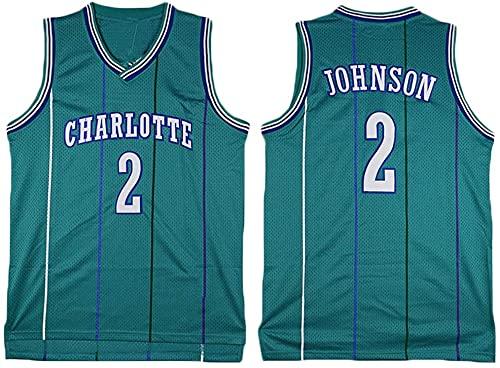 jiaju Ropa Baloncesto para Hombre NBA Jersey Hornets 2# Johnson Retro 2021 Transpirable Secado rápido Resistente al Desgaste Vestima sin Mangas Top para Deportes, Verde, m (Color : Green, Size : M)