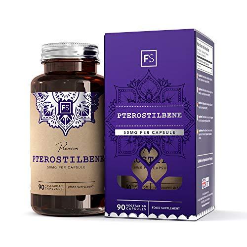 FS Pterostilben Stilbenoid 50mg Superfood Ergänzung   90 Vegane Pterostilbene Kapseln   Frughties Revastarol Gänzungsmittel   Ohne GVO & Gluten   Hergestellt in ISO-Zertifizierten Betrieben