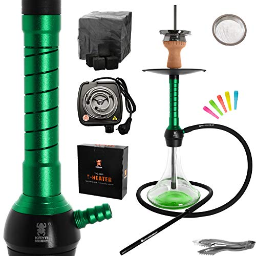 Kaya ELOX Eco Seesaw Shisha Komplett Set 62cm - Alu Wasserpfeife, 1 Anschluss inklusive Elektrischem Kohleanzünder, 1kg Kohle und Zubehör (Grün)