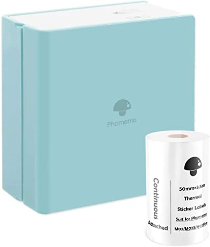 Phomemo M02 Pocket Printer Mini Bluetooth Thermal Printer Portable Photo Printer with Rechargeable Battery and USB Ca...
