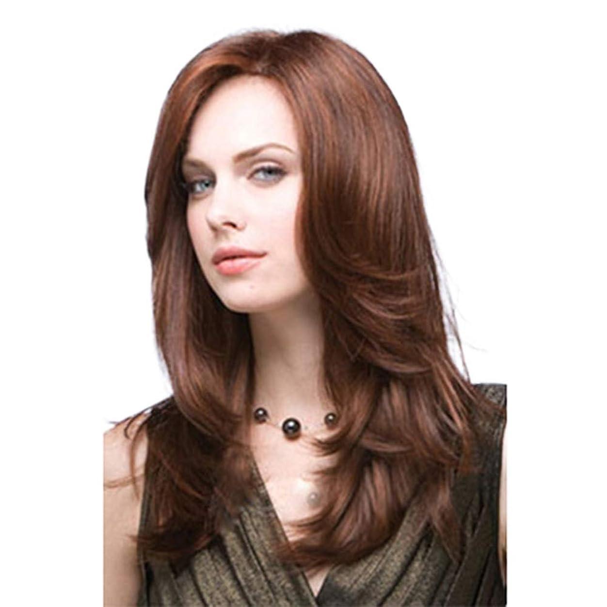 滝悪い下線Isikawan 女性のための斜め前髪かつらカーリーウェーブ16インチロングヘア人工毛デイリーパーティー (色 : ブラウン, サイズ : 16