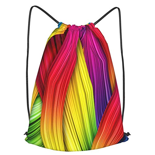 Olverz Colorido línea curva cordón mochila bolsa impermeable bolsa de gimnasio bolsa...