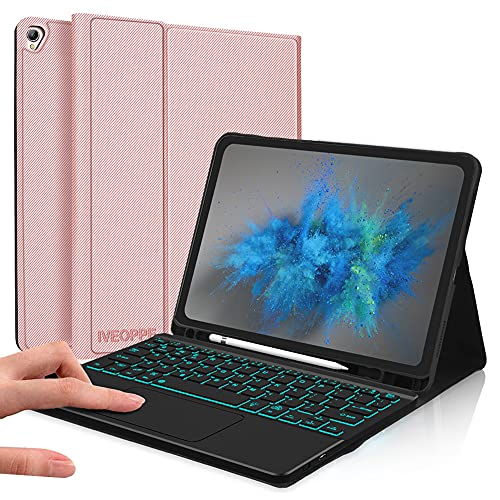 IVEOPPE Funda teclado italiano para iPad 10.2 8th Gen 2020/7th Gen/iPad Pro 10.5/iPad Air 3, con é.ç .§ Teclado, carcasa con Bluetooth, teclado desmontable, 7 colores retroiluminados, oro rosa