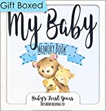 Baby Memory Book for Boys I Gift Box Baby Book Memory Book I First Year Baby Journal with Space for 4X6 Photos I Baby Keepsake Book in Blue I Baby Milestone Book I Keepsake Envelopes & Growth Chart