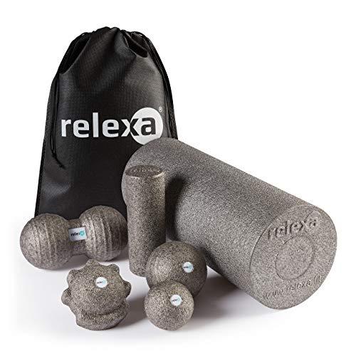 relexa Faszien Maxi Set 7-teilig, Faszienrollen / Faszienbälle für Verspannungen & Verklebungen, zur Selbstmassage aller Muskeln, vielseitige Anwendung, inkl. eBook, in Grau