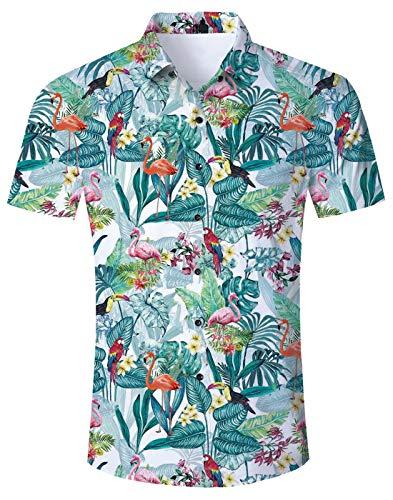 NEWISTAR Hawaiihemd Herren Kurzarm 3D Flamingo Gedruckt Button Down Sommer Hemden Lässige Shirts für Männer