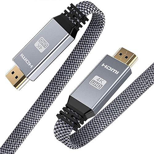 3Meter HDMI 4K@60HZ Flach Kabel, Snowkids HDMI 2.0 Kabel Highspeed 18Gbps HDCP 2.2 Nylon Geflochten Kompatibel mit Video 4K, UHD 2160p, HD 1080p, 3D, ARC, LG,PS3/PS4-Grau