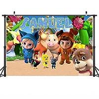 子供の漫画の背景の壁漫画 デイブとアバの写真の背景 布 誕生日パーティー 写真ブースの背景 カラフルな動物 ポートレート 写真の背景 Youtubeのビデオ撮影の背景