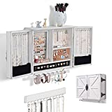 Rustic Wall Mounted Jewelry Organizer Jewelry Holder with Wooden Barn Door Decor, Hanging Jewelry Organizer for Necklaces,Earrings, Bracelets With Hooks Organizer Rustic White