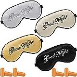 4 Pieces Silk Sleep Eye Mask Cover Adjustable Eyeshade Mask Satin Soft Blindfold Cover with 4 Pairs Earplugs for Sleep Women Men Travel Nap (Gray, Black, Golden, Beige)