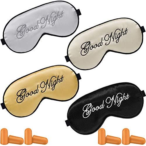 4 unidades de seda para dormir máscara de ojos ajustable máscara de raso noche con 4 pares de tapones para los oídos para las mujeres, los hombres duermen la siesta de viaje