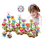 HANMUN Flower Garden Building Toys for Girls - Kid Gardening Set with 4 Wind-Up Toys for 3, 4, 5, 6...